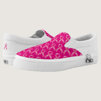 Pink Ribbon Breast Cancer Slip-On Sneakers