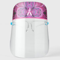 Pink Ribbon Breast Cancer Support Clear Face Shield