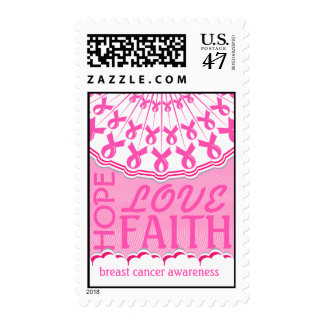 Pink Ribbon Breast Cancer Support Postage Stamp