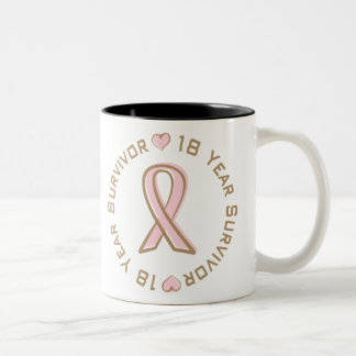 Pink Ribbon Breast Cancer Survivor 18 Years Two-Tone Coffee Mug