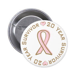 Pink Ribbon Breast Cancer Survivor 20 Years Button