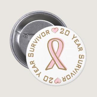 Pink Ribbon Breast Cancer Survivor 20 Years Button