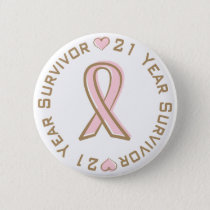 Pink Ribbon Breast Cancer Survivor 21 Years Pinback Button