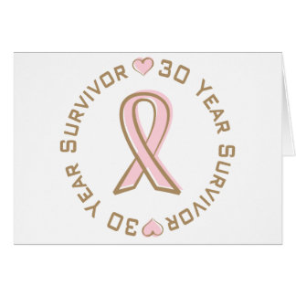 Pink Ribbon Breast Cancer Survivor 30 Years Card