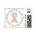 Pink Ribbon Breast Cancer Survivor 5 Years Postage Stamps