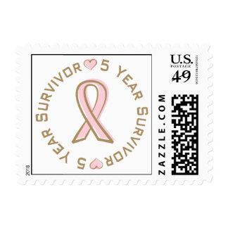 Pink Ribbon Breast Cancer Survivor 5 Years Postage Stamp