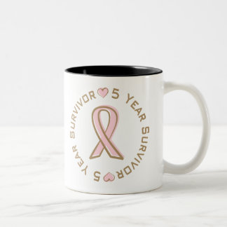 Pink Ribbon Breast Cancer Survivor 5 Years Two-Tone Coffee Mug