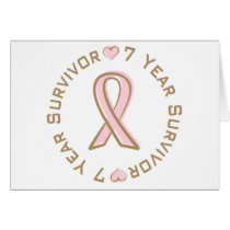 Pink Ribbon Breast Cancer Survivor 7 Years Card