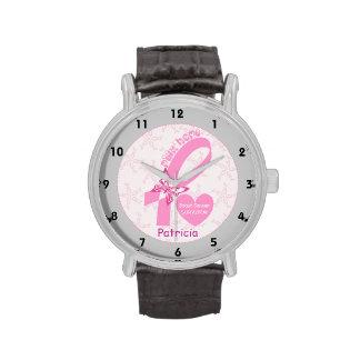 Pink Ribbon Breast cancer survivor, grey border Watches