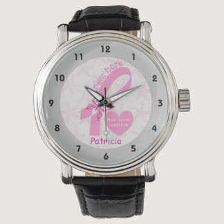 Pink Ribbon Breast cancer survivor, grey border Wrist Watch