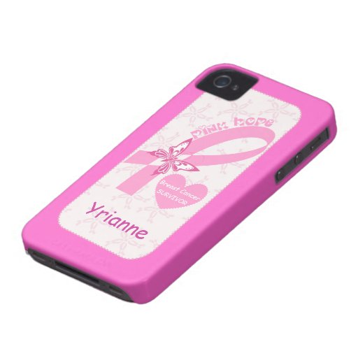 Pink Ribbon Breast cancer survivor hot pink custom iPhone 4 Case-Mate Case