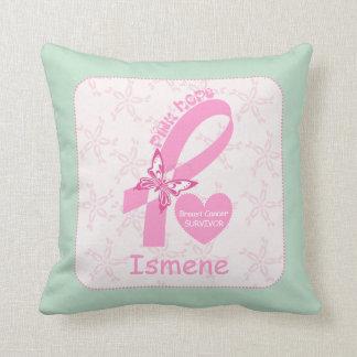Pink Ribbon Breast cancer survivor mint border Throw Pillow
