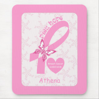 Pink Ribbon Breast cancer survivor & pink border Mouse Pad