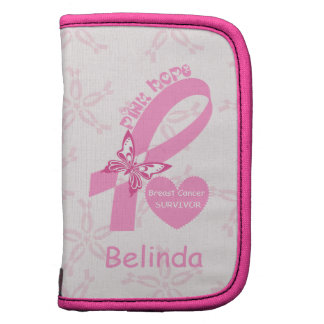 Pink Ribbon Breast cancer survivor & pink border Folio Planners