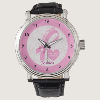 Pink Ribbon Breast cancer survivor & pink border Wrist Watch