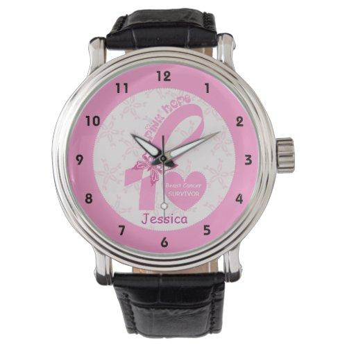 Pink Ribbon Breast cancer survivor & pink border Wristwatch