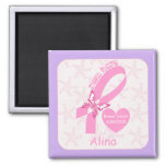 Pink Ribbon Breast cancer survivor & purple border Magnets