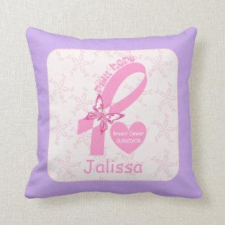 Pink Ribbon Breast cancer survivor & purple border Throw Pillow