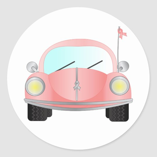 Pink Ribbon Bug Classic Round Sticker