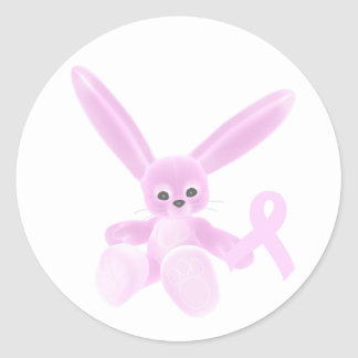 Pink Ribbon Bunny Round Stickers