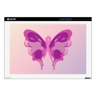 "PINK RIBBON BUTTERFLY 17"" LAPTOP SKINS"