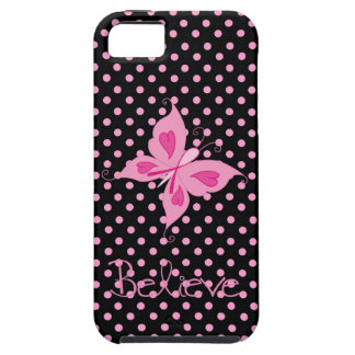 Pink Ribbon Butterfly Believe Iphone 5 case