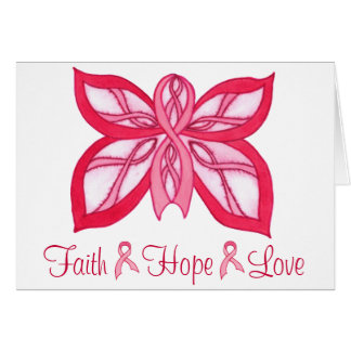 Pink Ribbon Butterfly - Blank Notecard