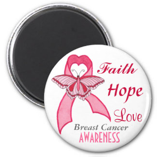 Pink Ribbon & Butterfly Cancer Awareness - Magnet