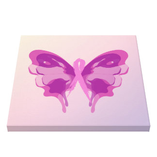 PINK RIBBON BUTTERFLY CANVAS PRINT