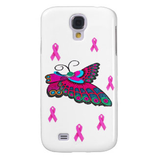 Pink Ribbon Butterfly Galaxy S4 Cases
