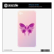 PINK RIBBON BUTTERFLY DECAL FOR THE iPhone 4