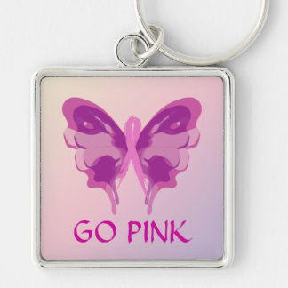 PINK RIBBON BUTTERFLY KEYCHAIN