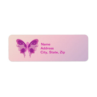 PINK RIBBON BUTTERFLY LABEL