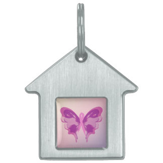 PINK RIBBON BUTTERFLY PET TAG