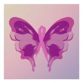 PINK RIBBON BUTTERFLY POSTER