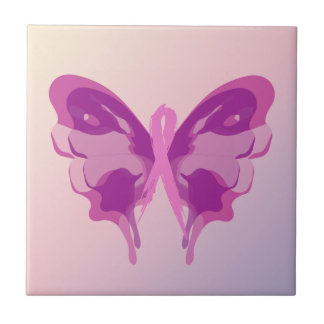 PINK RIBBON BUTTERFLY TILES