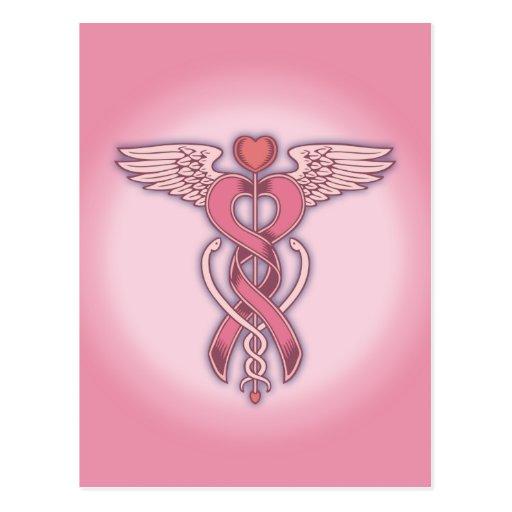 Pink Ribbon Caduceus Postcards