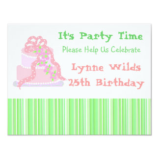 Pink Ribbon Cake Birthday Invitation