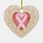 Pink Ribbon Cancer Ribbon #2 From the Heart - SRF Ceramic Ornament