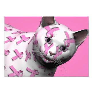 Pink Ribbon Cat Photo Art