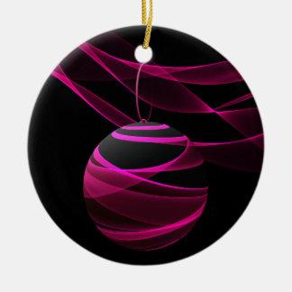 Pink Ribbon Celebration Double-Sided Ceramic Round Christmas Ornament