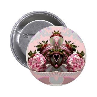 Pink Ribbon Chocolate Dipped Strawberries Pinback Button