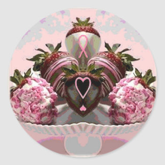 Pink Ribbon Chocolate Dipped Strawberries Classic Round Sticker