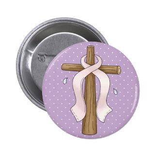 Pink Ribbon Christian Cross Design Pinback Button