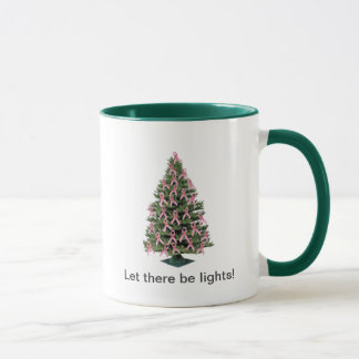 Pink ribbon Christmas -- mug