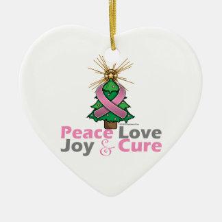 Pink Ribbon Christmas Peace Love Joy Cure Ornament