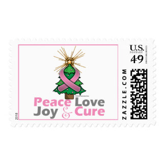 Pink Ribbon Christmas Peace Love, Joy & Cure Postage