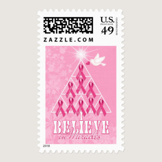 Pink Ribbon Christmas Tree | Breast Cancer Postage