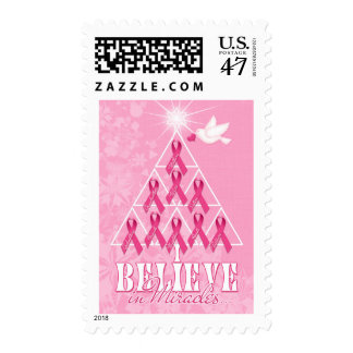 Pink Ribbon Christmas Tree | Breast Cancer Postage Stamp