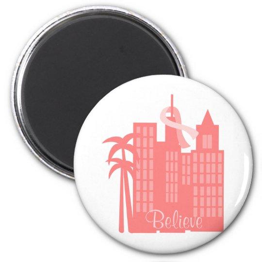 Pink Ribbon Cityscape Magnet